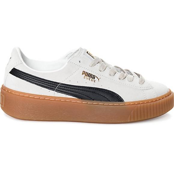 48a9afc9d5b2c2 PUMA Suede Platform Core White Black Shoes Women s.  M 5b747d96c89e1de363d1449f